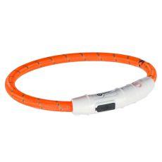 Világító LED nyakörv M-L, narancssárga 45 cm