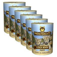 WOLFSBLUT Cold River PUPPY konzerv, 6 x 395 g