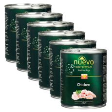 NUEVO DOG Adult Chicken konzerv 6 x 800 g, 5 + 1 GRATIS