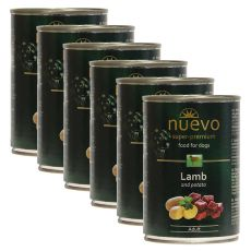 NUEVO DOG Adult Lamb & Potato konzerv 6 x 400 g, 5 + 1 GRATIS