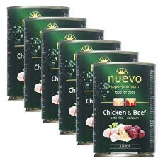 NUEVO DOG Junior Chicken & Beef konzerv 6 x 400 g, 5 + 1 GRATIS