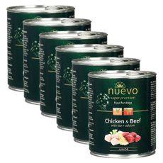 NUEVO DOG Junior Chicken & Beef konzerv 6 x 800 g, 5 + 1 GRATIS