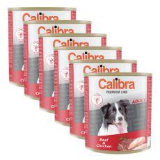 CALIBRA Premium Adult konzerv - marhahús és csirke, 6 x 800 g, 5 + 1 GRATIS