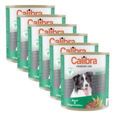 CALIBRA Premium Adult konzerv - marhahús és zöldség, 6 x 800 g, 5 + 1 GRATIS