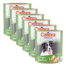 CALIBRA Premium Adult konzerv - baromfi és zöldség, 6 x 800 g, 5 + 1 GRATIS