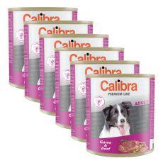 CALIBRA Premium Adult konzerv - vadhús és marhahús, 6 x 800 g, 5 + 1 GRATIS