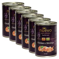 NUEVO CAT Adult Chicken & Shrimps konzerv 6 x 400 g, 5 + 1 GRATIS