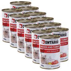 ONTARIO Konzerv macskáknak - csirke, pulyka és olaj - 12 x400 g