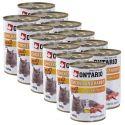 ONTARIO Konzerv macskáknak - csirke, nyúl és olaj - 12 x 400 g