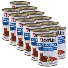 ONTARIO Konzerv macskáknak - marha, lazac és olaj - 12 x 400 g