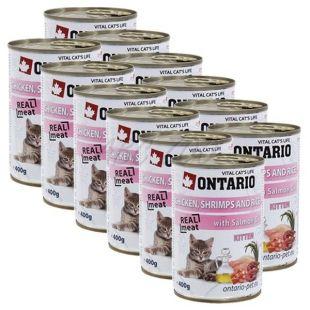 ONTARIO Kitten Konzerv - csirke, rák, rizs és olaj - 12 x 400 g