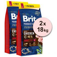 Brit Premium by Nature Adult Large 2 x 15 kg + 6kg GRÁTISZ