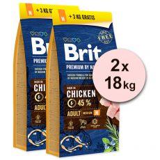 Brit Premium by Nature Adult Medium 2 x 15 kg + 6kg GRÁTISZ