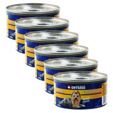 Konzerv ONTARIO Adult kutyáknak, csirkedarabok + zúza, 6 x 200g