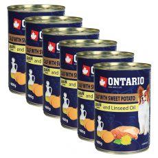 ONTARIO konzerv borjúhússal, édes burgonyával és lenmagolajjal – 6 x 400g