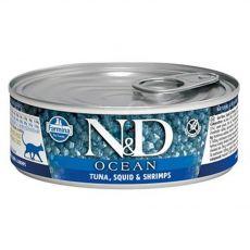 Farmina N&D macska, tonhal, tintahal és garnélarák konzerv 80 g