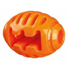 Kutyajáték - rögbi labda, narancssárga, 10 cm