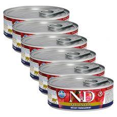Farmina N&D cat Quinoa Weight Management konzerv 6 x 80 g