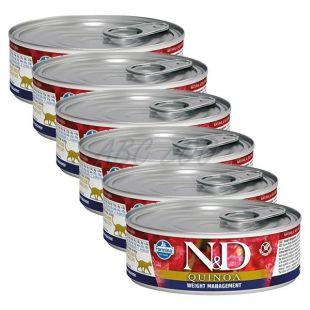 Farmina N&D cat Quinoa Weight Management konzerv 6 x 80 g, 5+1 GRÁTISZ