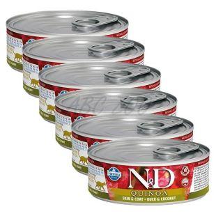 Farmina N&D cat Quinoa Duck & Coconut konzerv 6 x 80 g, 5+1 GRÁTISZ