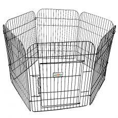 Hatszögletű kifutó kiskutyák számára 65 x 50 cm, fekete