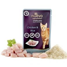 NUEVO CAT Sterilised Chicken & Rice alutasakos macskaeledel 85 g