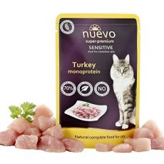 NUEVO CAT Sensitive Turkey Monoprotein alutasakos macskaeledel 85 g
