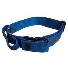 Kék biztonsági nyakörv fogantyúval 47 - 75 cm, 50 mm