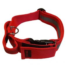 Piros biztonsági nyakörv fogantyúval 40 - 65 cm, 40 mm