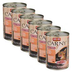 CARNY KITTEN nedves macskaeledel, marha, borjú és csirke 6 x 400 g