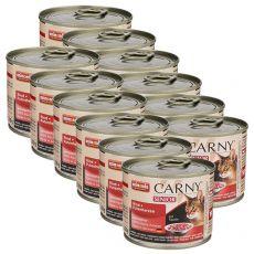 CARNY SENIOR nedves macskaeledel, marha és pulykaszív 12 x 200 g
