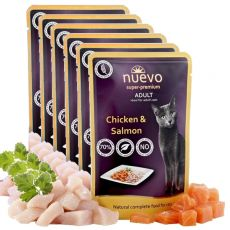 NUEVO CAT Adult Chicken & Salmon alutasakos macskaeledel 6 x 85 g