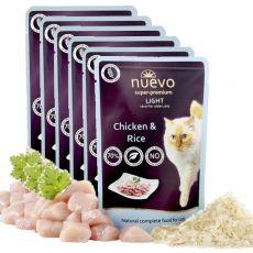 NUEVO CAT Light Chicken & Rice alutasakos macskaeledel 6 x 85 g