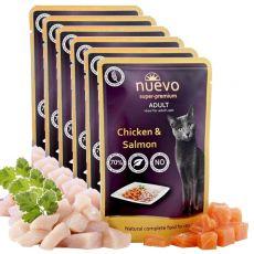 NUEVO CAT Adult Chicken & Salmon alutasakos macskaeledel 6 x 85 g, 5 + 1 GRATUIT