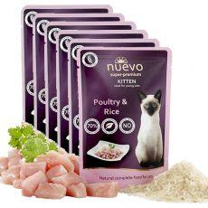 NUEVO CAT Kitten Poultry & Rice alutasakos macskaeledel 6 x 85 g, 5 + 1 GRÁTISZ