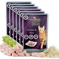 NUEVO CAT Sterilised Chicken & Rice alutasakos macskaeledel 6 x 85 g, 5 + 1 GRÁTISZ