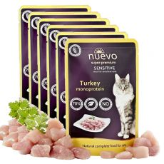 NUEVO CAT Sensitive Turkey Monoprotein alutasakos macskaeledel 6 x 85 g, 5 + 1 GRÁTISZ
