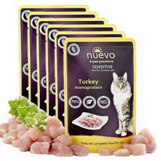 NUEVO CAT Sensitive Turkey Monoprotein alutasakos macskaeledel 6 x 85 g