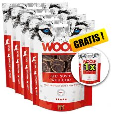 WOOLF Beef Sushi with Cod 5 x 100g, 4+1 GRÁTISZ