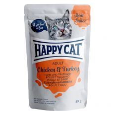 Happy Cat MEAT IN SAUCE Adult Chicken & Turkey alutasakos eledel 85 g