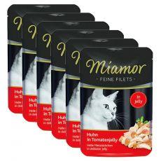 Miamor Feine Filets alutasakos eledel csirke és paradicsom zselében 6 x 100 g