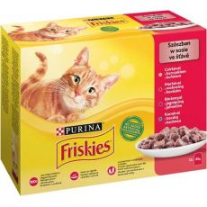 Friskies alutasakos macskatáp - csirke, marha, bárány és kacsa szószban 12 x 85 g