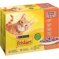 Friskies alutasakos macskaeledel - csirke, kacsa, lazac és pulyka szószban 12 x 85 g