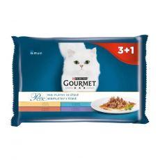 Gourmet Perle alutasakos macskaeledel, mini szeletek szószban 4 x 85 g