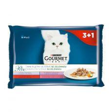 Gourmet Perle alutasakos macskaeledel, mini szeletek zöldségekkel szószban 4 x 85 g