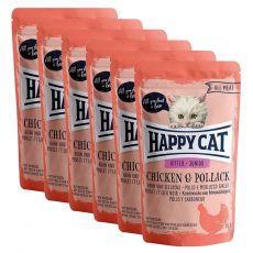 Happy Cat ALL MEAT Kitten Junior alutasakos eledel Chicken & Pollack 6 x 85 g