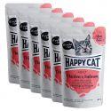 Happy Cat MEAT IN SAUCE Adult alutasakos eledel Chicken & Salmon 6 x 85 g