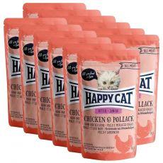 Happy Cat ALL MEAT Kitten Junior alutasakos eledel Chicken & Pollack 12 x 85 g