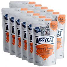 Happy Cat MEAT IN SAUCE Adult Chicken & Turkey alutasakos eledel 12 x 85 g