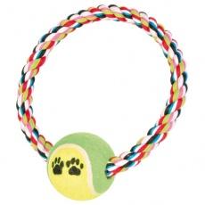 Pamut rágókarika kutyának teniszlabdával - 18 cm
